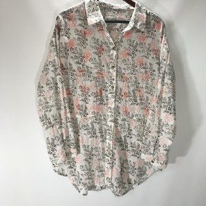 Anthropologie Blouse Button Up Shirt Long Sleeve F